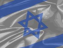 Крупный план флага Израиля Silk Стоковая Фотография