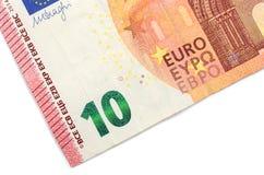 Крупный план части банкноты евро 10! Стоковое фото RF