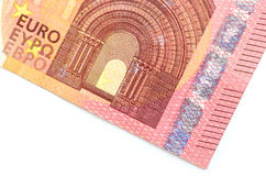 Крупный план части банкноты евро 10 Стоковое Изображение RF