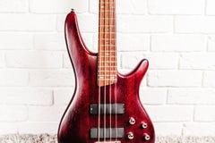Крупный план электрической гитары Rosewood басовый Стоковое Изображение RF