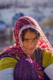 Крупный план beautyful женщины Rajasthani Стоковое Изображение RF