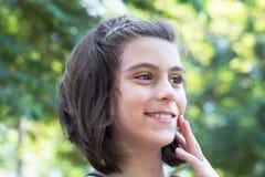 крупный план eyes девушка меньший портрет довольно Стоковая Фотография