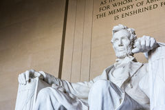 Крупный план p ориентир ориентира стула Авраама Линкольна мемориальный сидя известный Стоковое Изображение