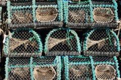 Крупный план worn ловушек рыбной ловли для угрей Стоковое фото RF