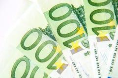 100 крупных планов евро Стоковое Изображение RF