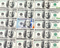 100 крупных планов банкноты долларов наличных денег, предпосылка денег Стоковые Изображения RF