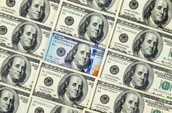 100 крупных планов банкноты долларов наличных денег Стоковые Изображения RF