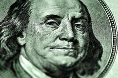 100 крупных планов Франклина долларовой банкноты Стоковые Фото