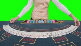 Крупье казино приглаживает карточки покера зеленый экран движение медленное конец вверх видеоматериал