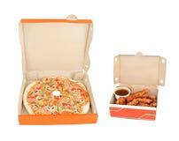 крыла пиццы перца ветчины dip цыпленка стоковое изображение rf