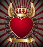 крыла сердца монетного золота предпосылки королевские Стоковое Изображение