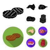 Крыла цыпленка, ветчина, сырцовый стейк, кубы говядины Значки собрания мяса установленные в черном, плоском запасе символа вектор Стоковая Фотография