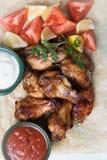 Крыла цыпленка стиля Техаса Стоковое Изображение RF