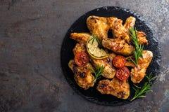 Крыла цыпленка BBQ, пряное зажаренное мясо Стоковое Изображение RF
