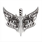 крыла tattoo шпаги конструкции установленные Стоковое Фото