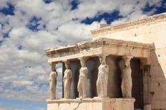 крылечко Греции caryatid athens акрополя Стоковое Изображение RF