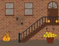 Крылечко, украшенное на хеллоуин иллюстрация вектора