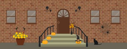 Крылечко, украшенное на хеллоуин бесплатная иллюстрация