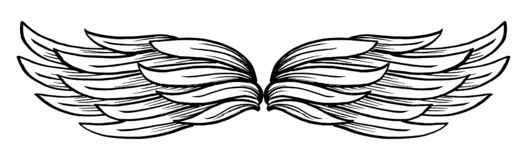 Крыло вектора нарисованное рукой стоковые фотографии rf