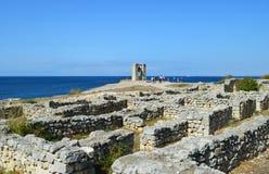Крым, Chersonesos, колокол сигнала на Чёрном море стоковое фото