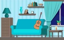 Крытая обеспечивая комната в голубом цвете с иллюстрацией вектора гитары бесплатная иллюстрация