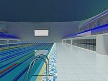 Крытая олимпийская арена бассейна с голубыми местами Стоковая Фотография