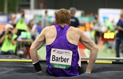 Крытое Atletics, парикмахер Shawnacy канадца Прыжок с шестом, чемпион мира Стоковое Изображение RF
