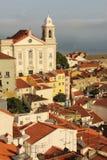 Крыть черепицей черепицей крыши. Взгляд над кварталом Alfama. Лиссабон. Португалия стоковая фотография rf