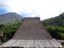 Крыша дома соломы Bena Bajawa традиционного стоковое изображение