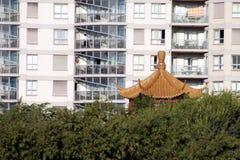 крыша квартиры китайская урбанская Стоковые Изображения RF