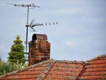 Крыша печной трубы красного кирпича красная крыть черепицей черепицей Стоковые Фотографии RF