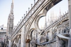 Крыша собора Duomo, милана Стоковые Фотографии RF