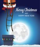 крыша santa claus Идет вниз с лестниц к печной трубе с подарками Дизайн плаката зимы праздничный Стоковая Фотография RF