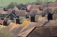 Крыши в английском микрорайоне застроенном муниципальным домами Стоковые Фото