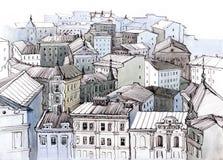 крыши города иллюстрация вектора