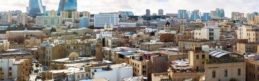 Крыши города Баку старого Стоковая Фотография