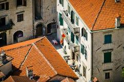 Крыши города Kotor Стоковая Фотография