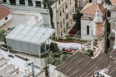 Крыши и террасы от Galata возвышаются, Стамбул стоковые изображения rf