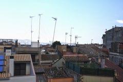 Крыши Мадрида на заходе солнца стоковое фото rf