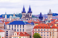 Крыши Праги, чехии Стоковое Изображение