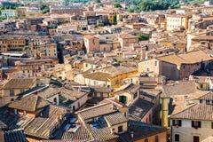 Крыши Сиены, вида с воздуха, Тосканы Италии Стоковая Фотография RF