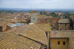 Крыши средневековой Сиены на после полудня в сентябре Италия Стоковые Изображения