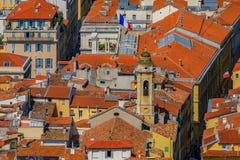 Крыши терракоты старого городка, Vieille Ville в славном на th Стоковое Изображение
