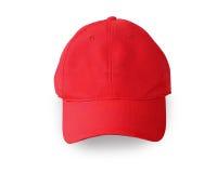 Крышка бейсбола красная изолированная на белой предпосылке Стоковое Изображение
