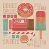 Крышка кондитерскаи винтажная - донут, шоколадный батончик, леденец на палочке, печенья, сладостные конфеты, жевательная резина и Стоковые Фотографии RF