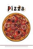 Крышка меню пиццы - чертеж вектора Стоковые Изображения RF
