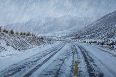 Крышка дороги с снегом в вьюге и тумане снега Стоковая Фотография RF