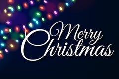 Крышка рождества Пестротканые света на темной предпосылке Каллиграфический текст предпосылка праздничная Накаляя гирлянды Светящи иллюстрация вектора