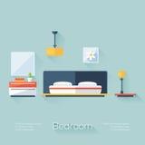 Крышка спальни с лампой, люстрой и Nightstand Плоский стиль с длинными тенями Современный ультрамодный дизайн Стоковое Изображение RF