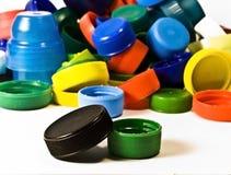 крышки бутылки пластичные Стоковая Фотография RF